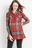 Plaid Shawl Collar Maternity Sweater