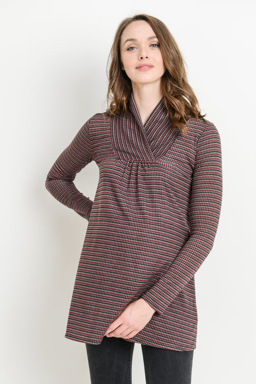 Striped Shawl Collar Maternity Sweater
