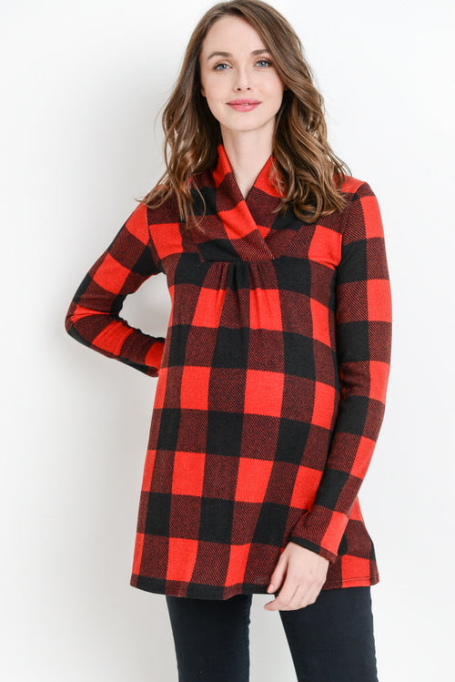 Plaid Long Sleeve Maternity Sweater