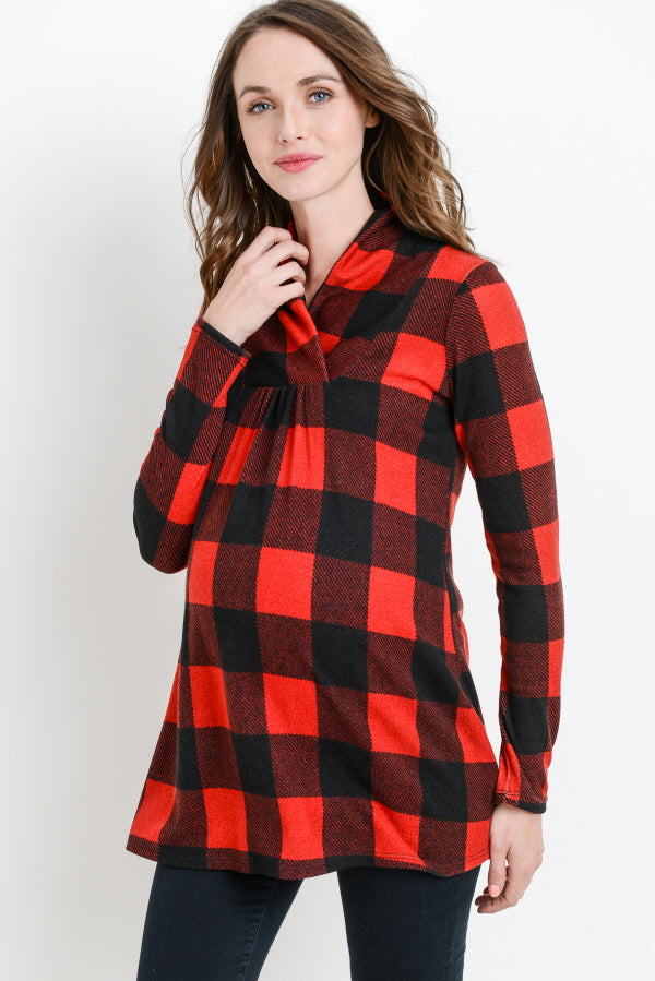 RED PLAID MATERNITY TOP