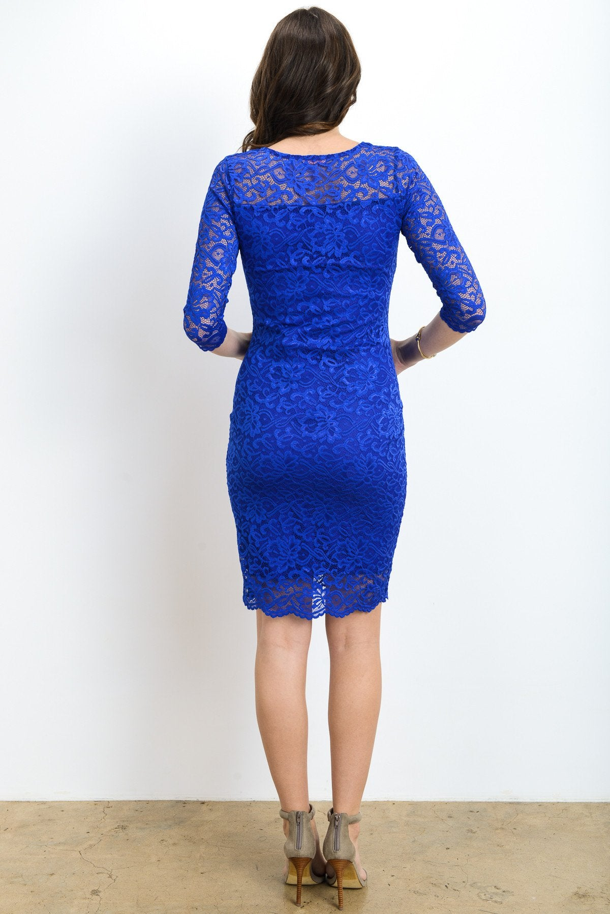 Lace V-Neck Maternity Bodycon Dress