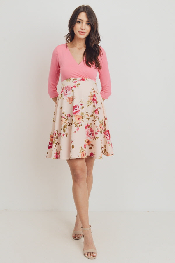 Floral Bottom Pink Surplice Maternity & Nursing Dress