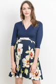 Solid Top Surplice Maternity & Nursing Dress