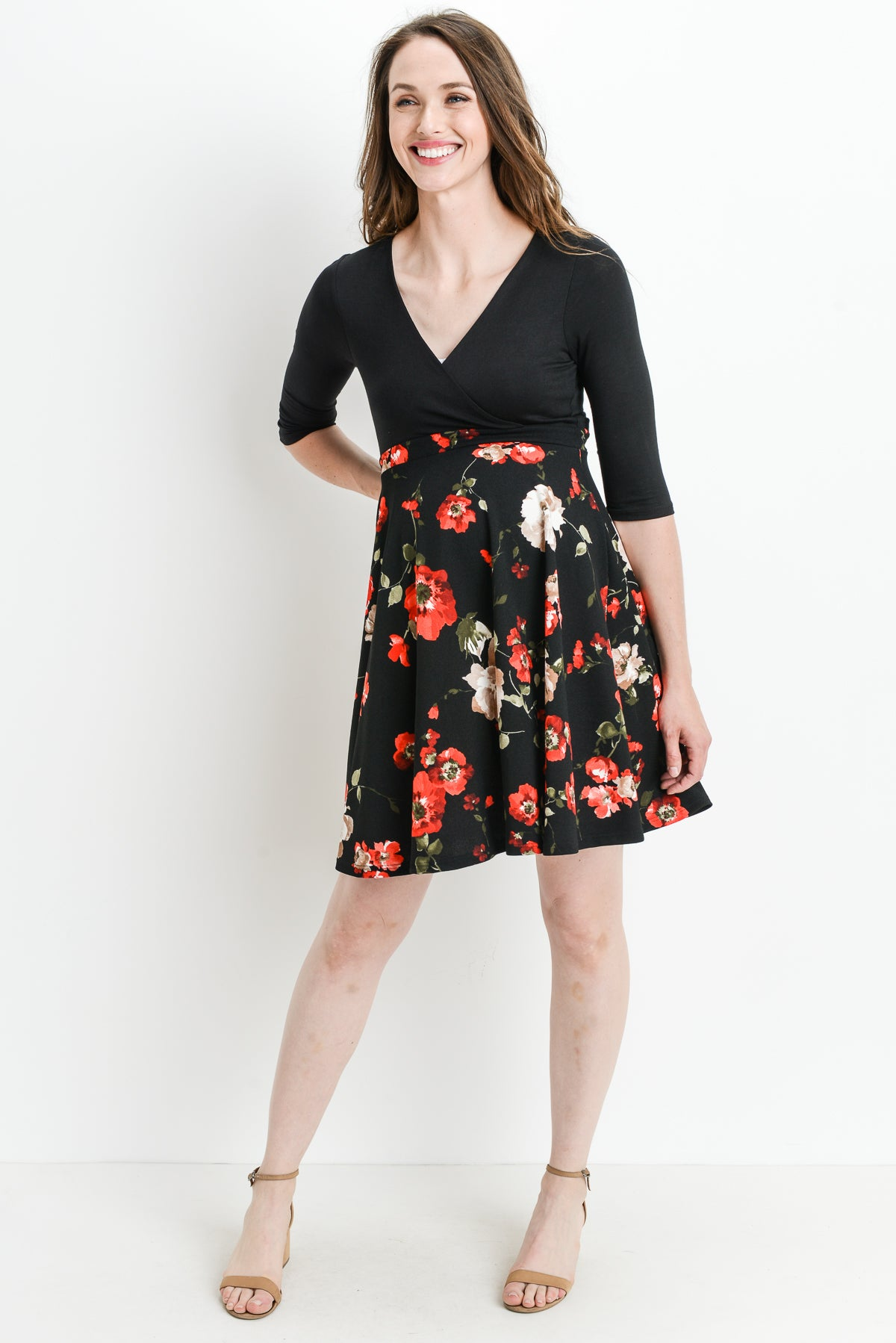 Floral Color Block Maternity & Nursing Dress