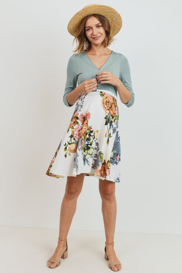 Floral Bottom Solid Surplice Maternity & Nursing Dress