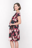 Abstract Boat Neck Side Tie Maternity Dress