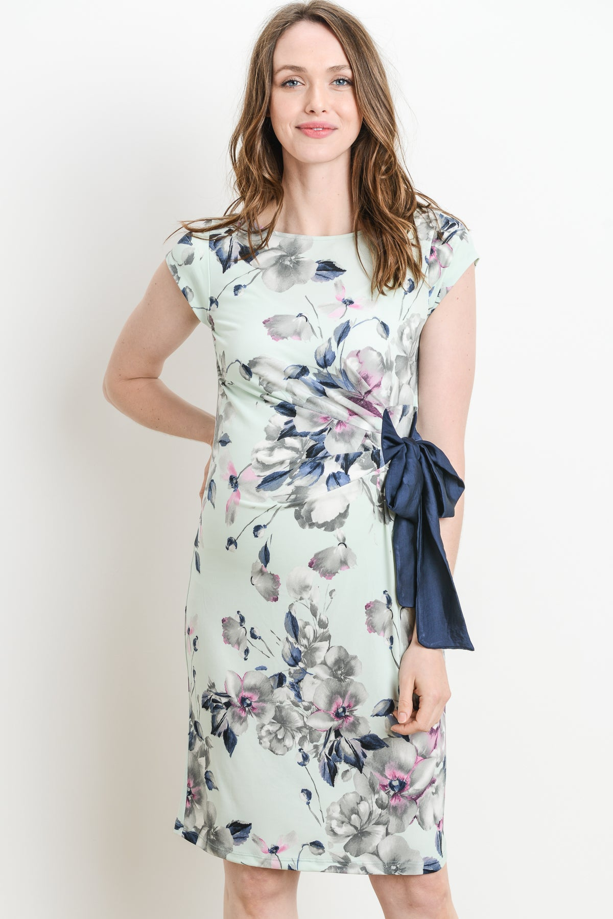 Pastel Floral Boat Neck with Ribbon Maternity Dress
