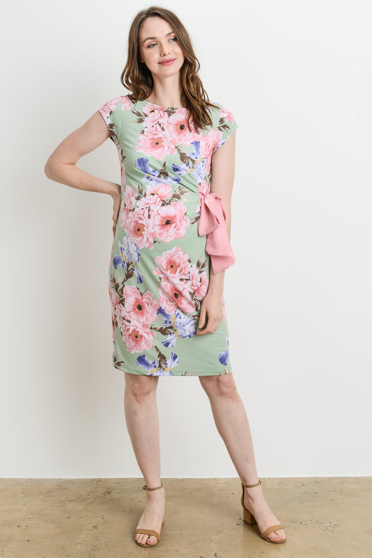 f4912c4c701e0 Pastel Floral Boat Neck with Ribbon Maternity Dress ...