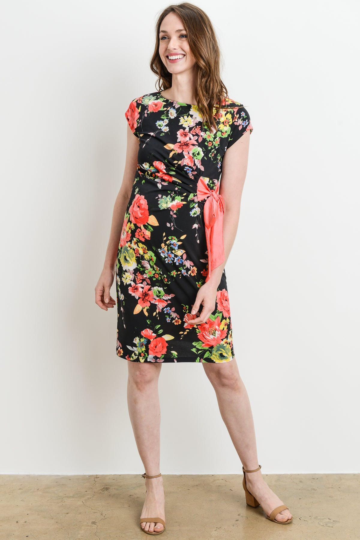 Flower Adjustable Side Tie Maternity Dress