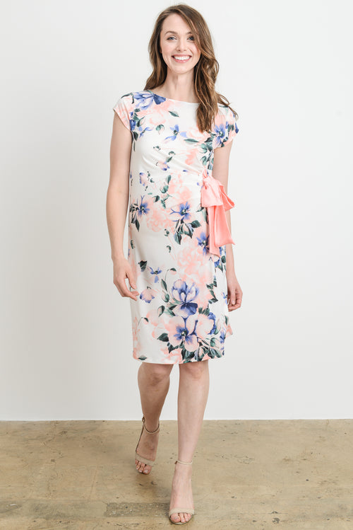 6a6d325e00a32 Pastel Floral Boat Neck with Ribbon Maternity Dress