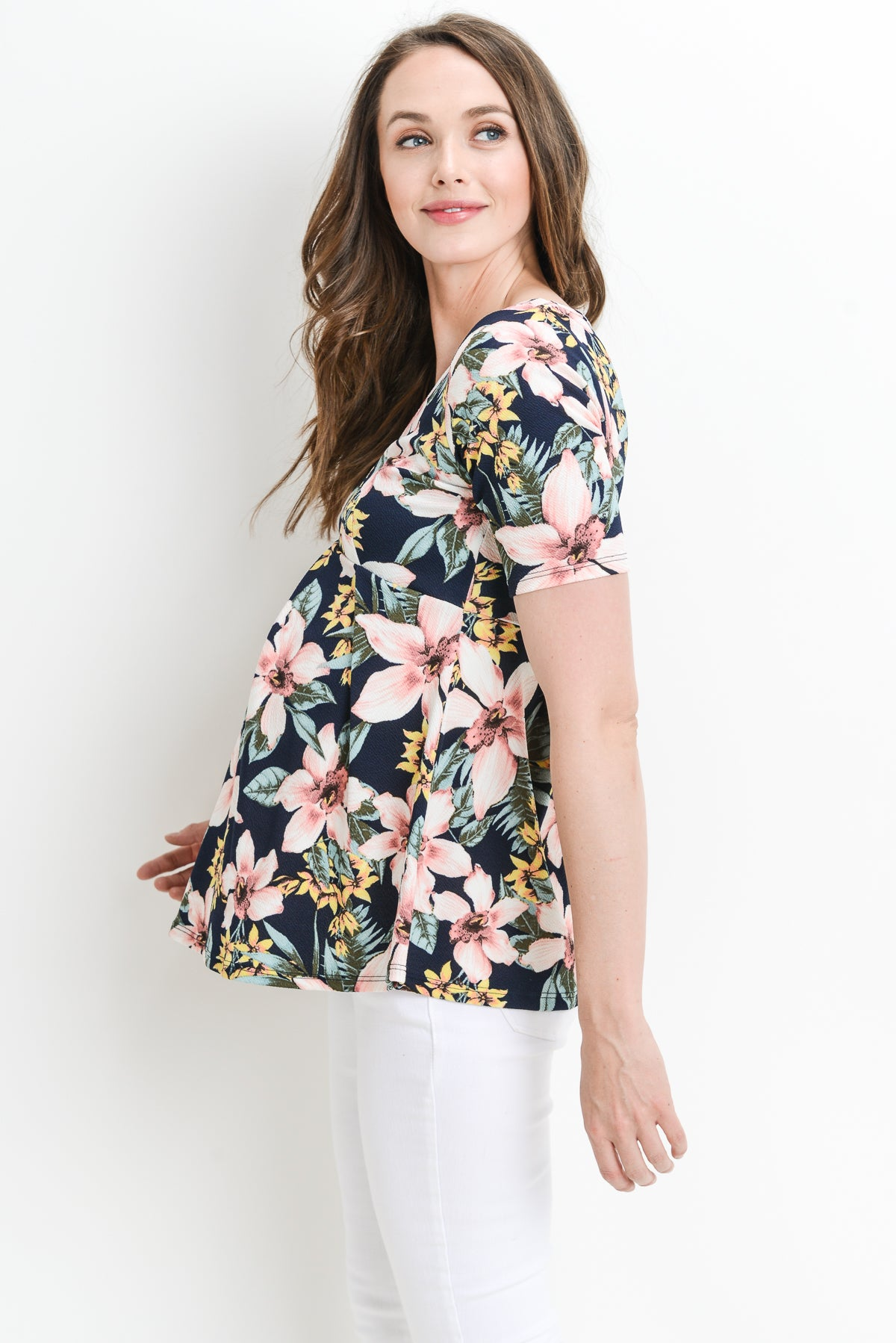 Floral Empire Waist Maternity Top