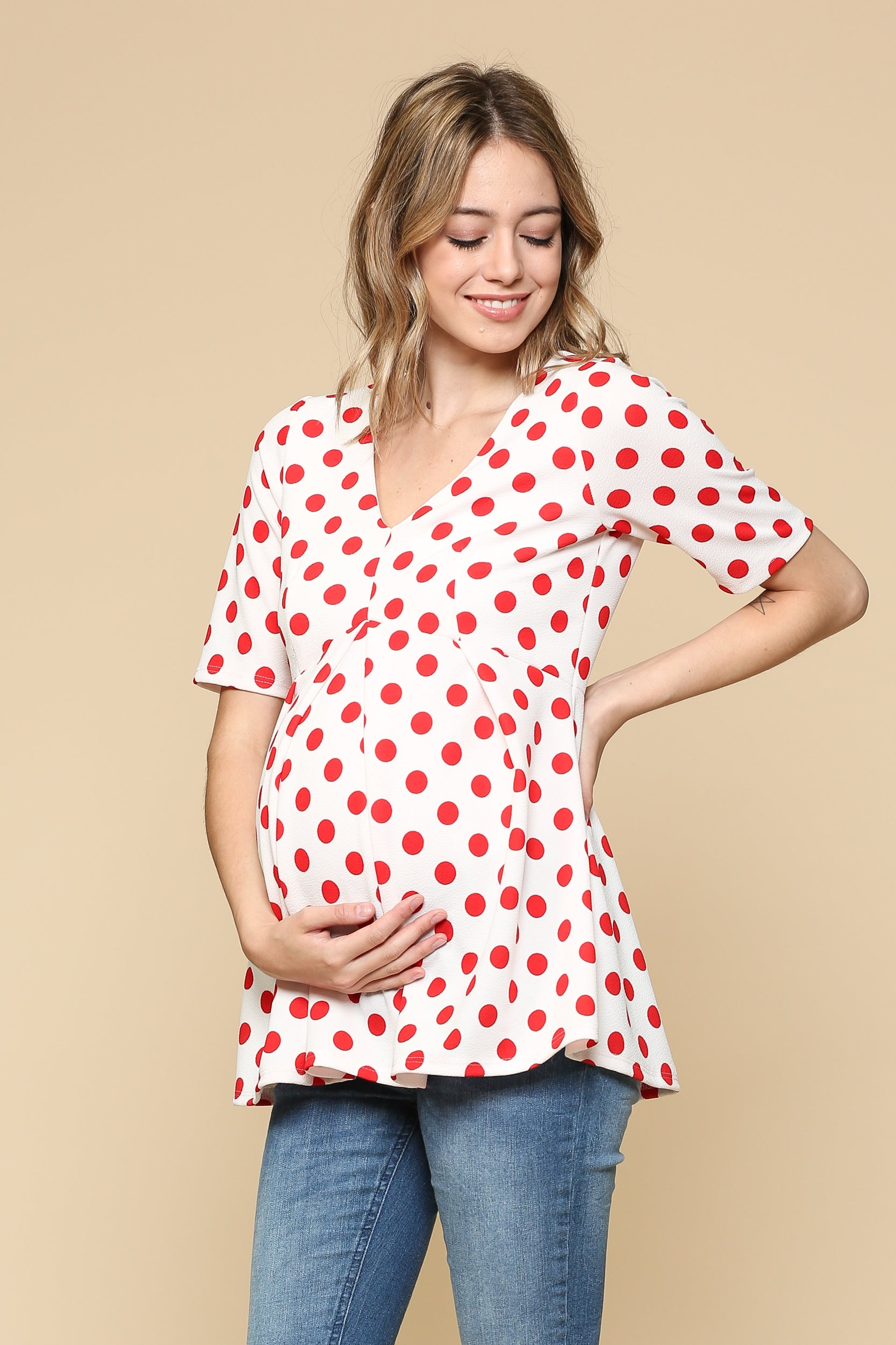 Polka Dot Peplum Maternity Top