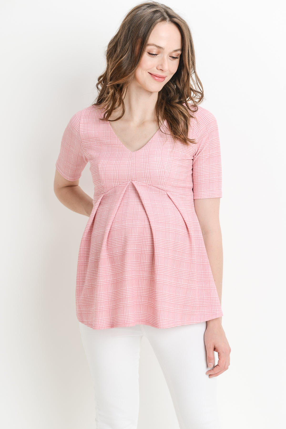 Striped Plaid Peplum Maternity top