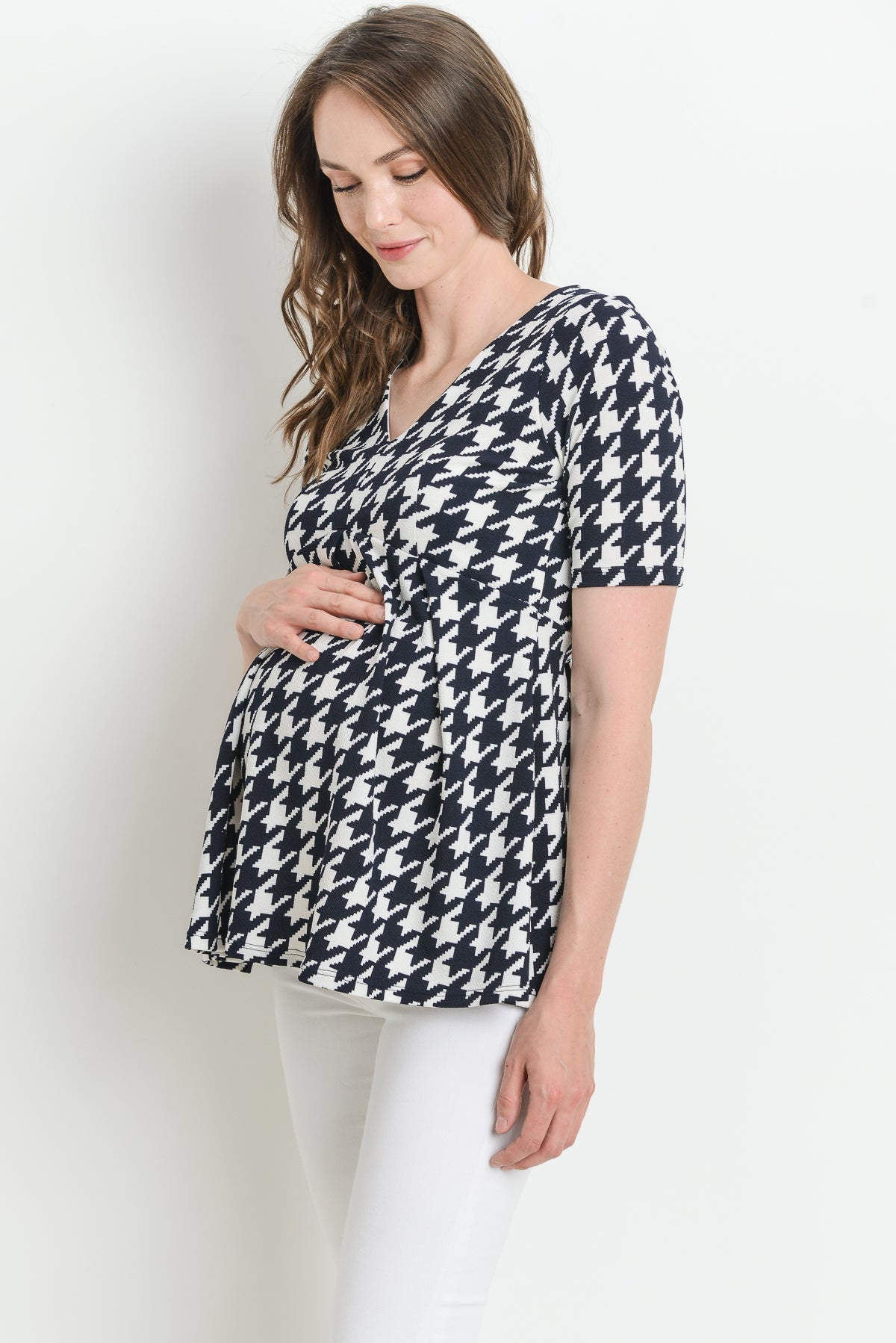 Houndtooth Front Pleat Maternity Top