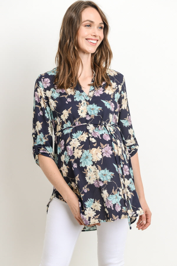 Mandarin Collar Roll-Up Sleeve Maternity Blouse