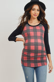 Plaid Raglan Maternity Top