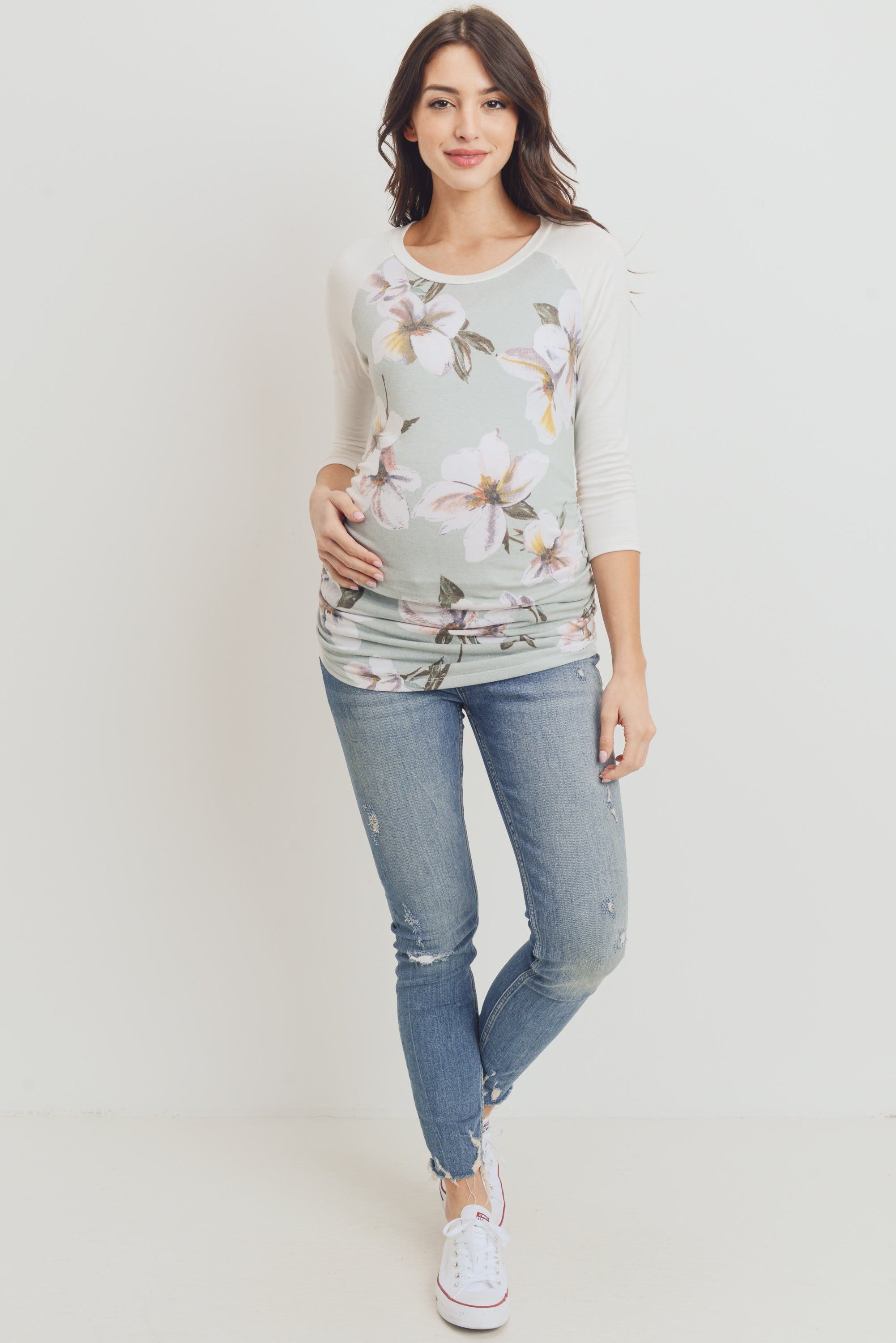 Floral Raglan Maternity Top