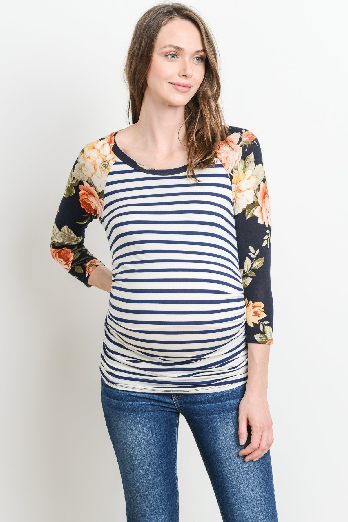 Striped Floral Sleeve Raglan Maternity Top