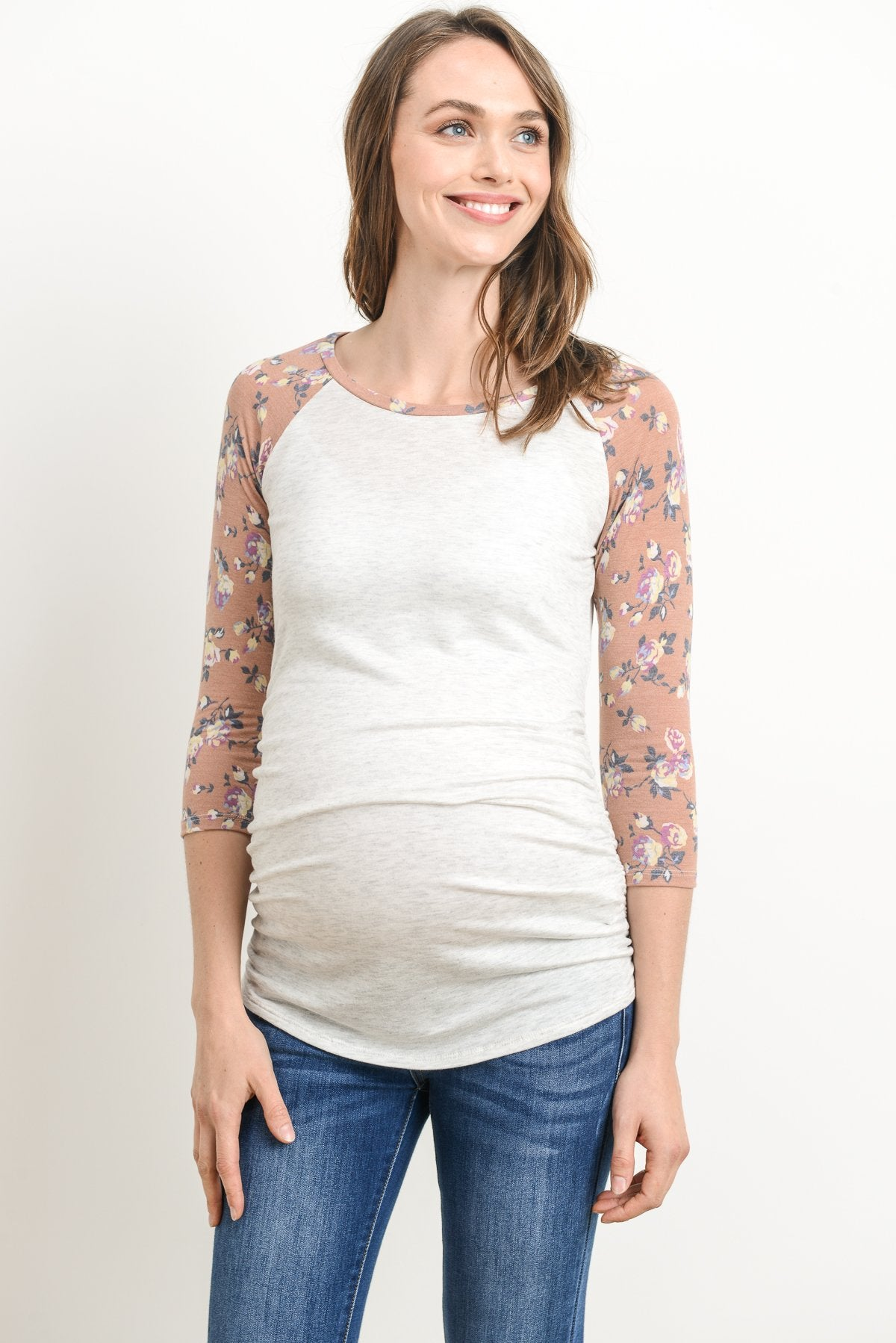 Floral Sleeve Raglan Maternity Top