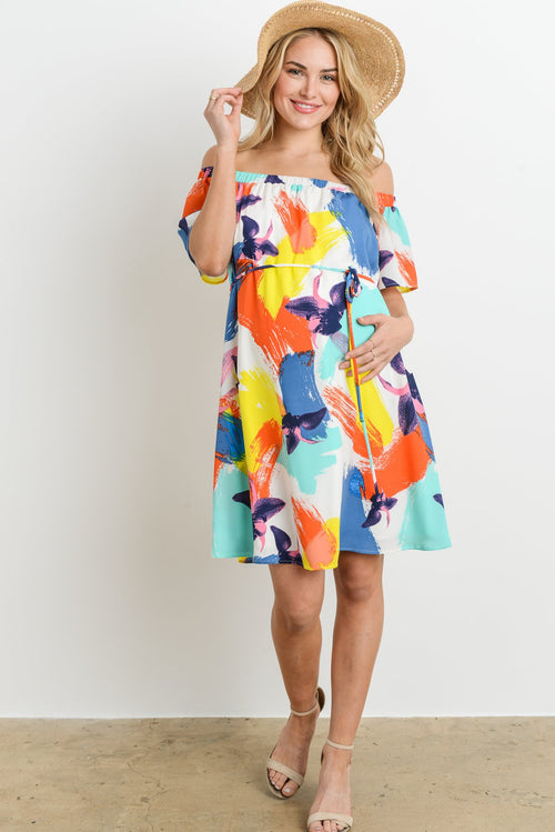 Multi Colored Off Shoulder Maternity Dress