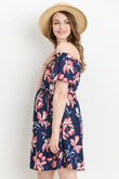OFF THE SHOULDER FLORAL PRINT DRESS WITH ADJUSTABLE SIDE TIE