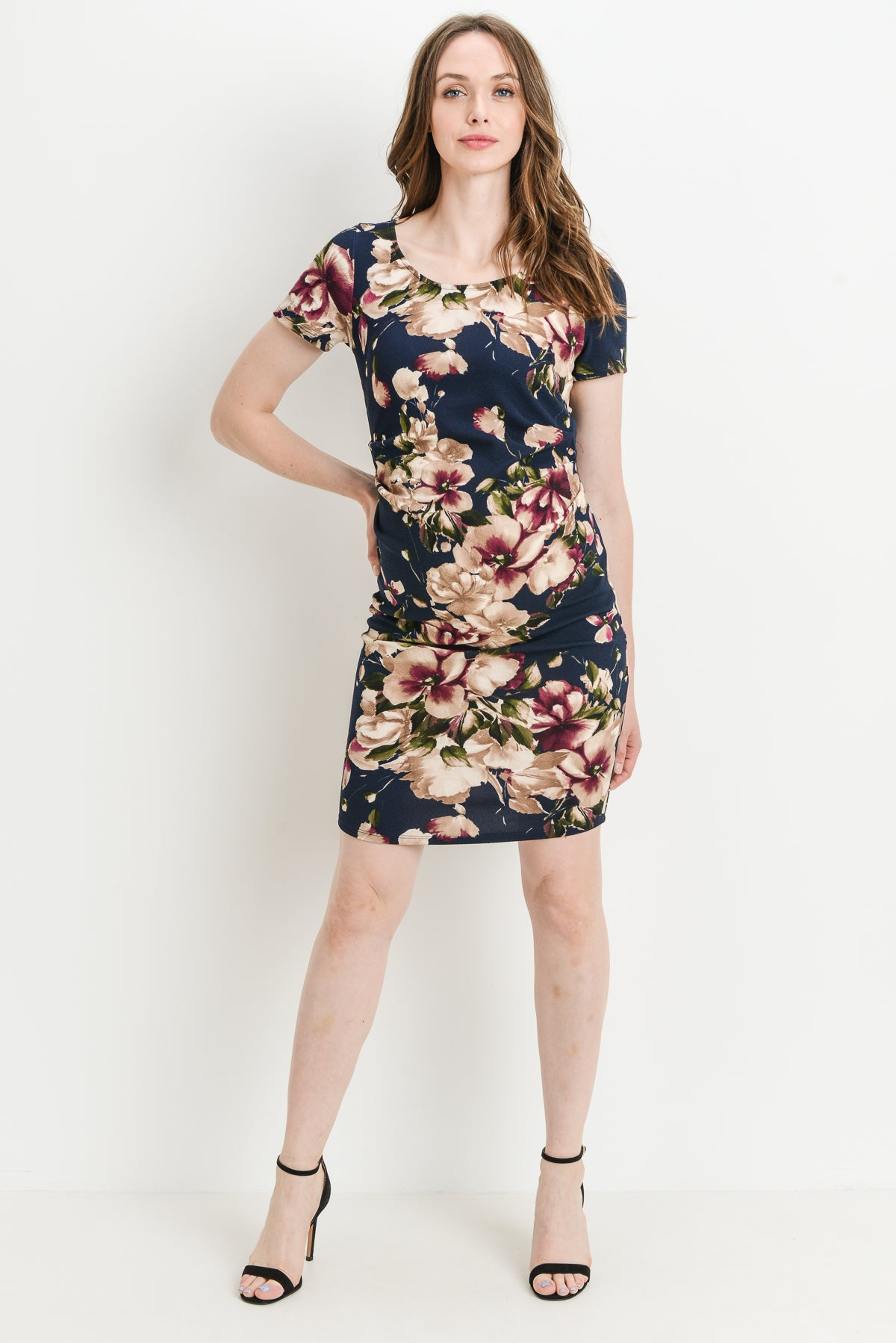 Casual Floral Scoop Neck Maternity Dress