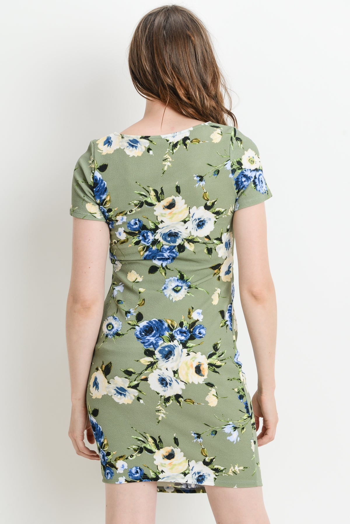 Casual Round Neck Maternity Dress, Floral