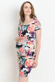 Multi Color Floral Maternity Bodycon Dress