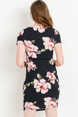 Casual Round Neck Maternity Dress, Blooms