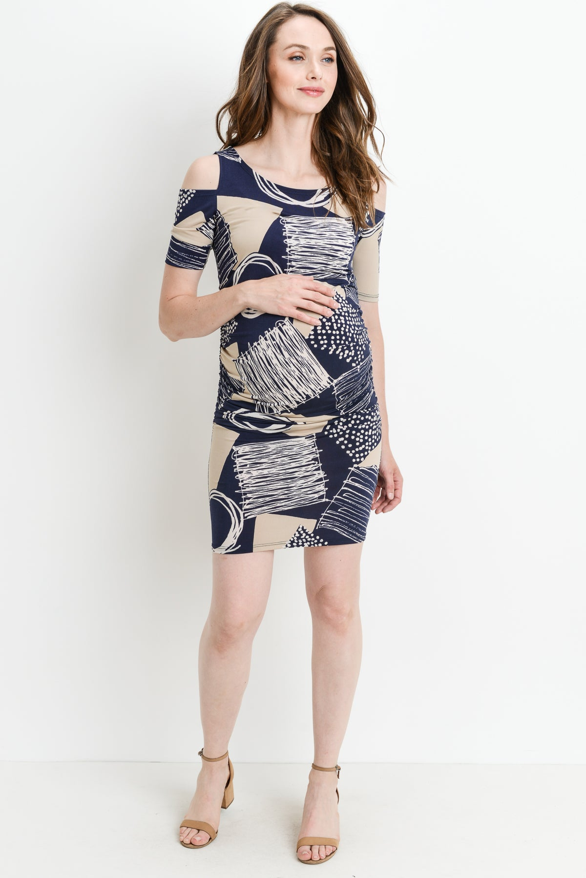 Geo Cold Shoulder Bodycon Maternity Dress