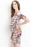 Plaid Cold Shoulder Bodycon Maternity dress