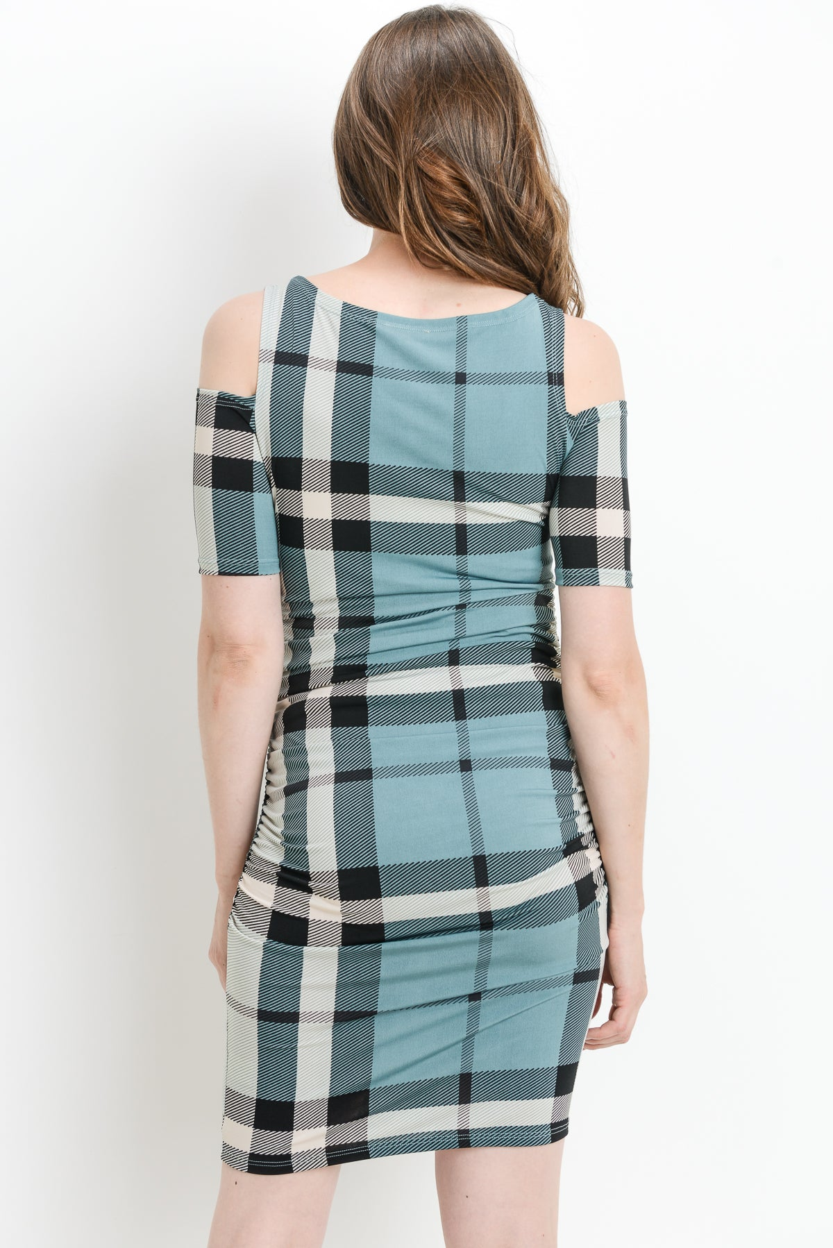 Plaid Cold Shoulder Maternity Dress