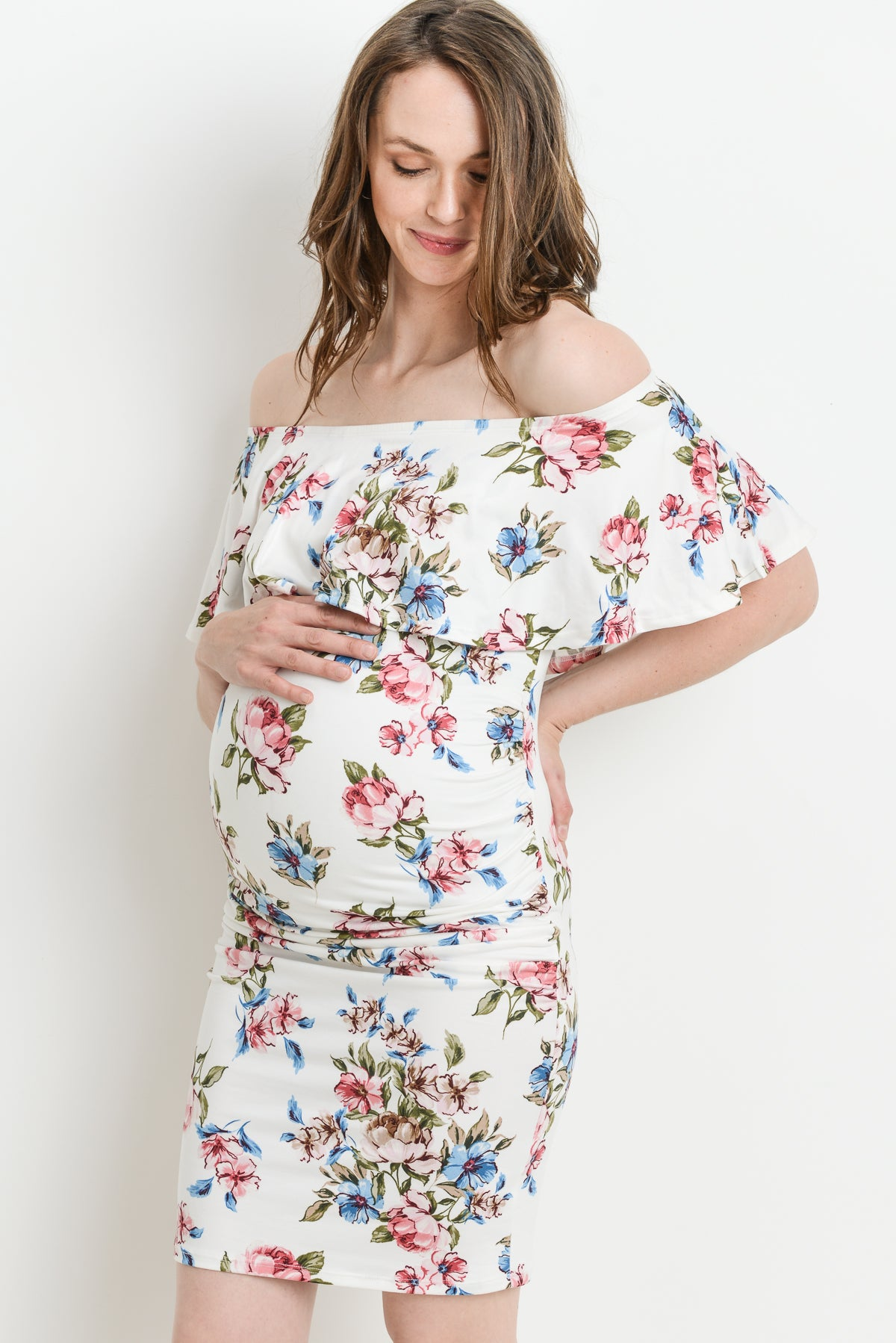 Fitted Off Shoulder Maternity Dress