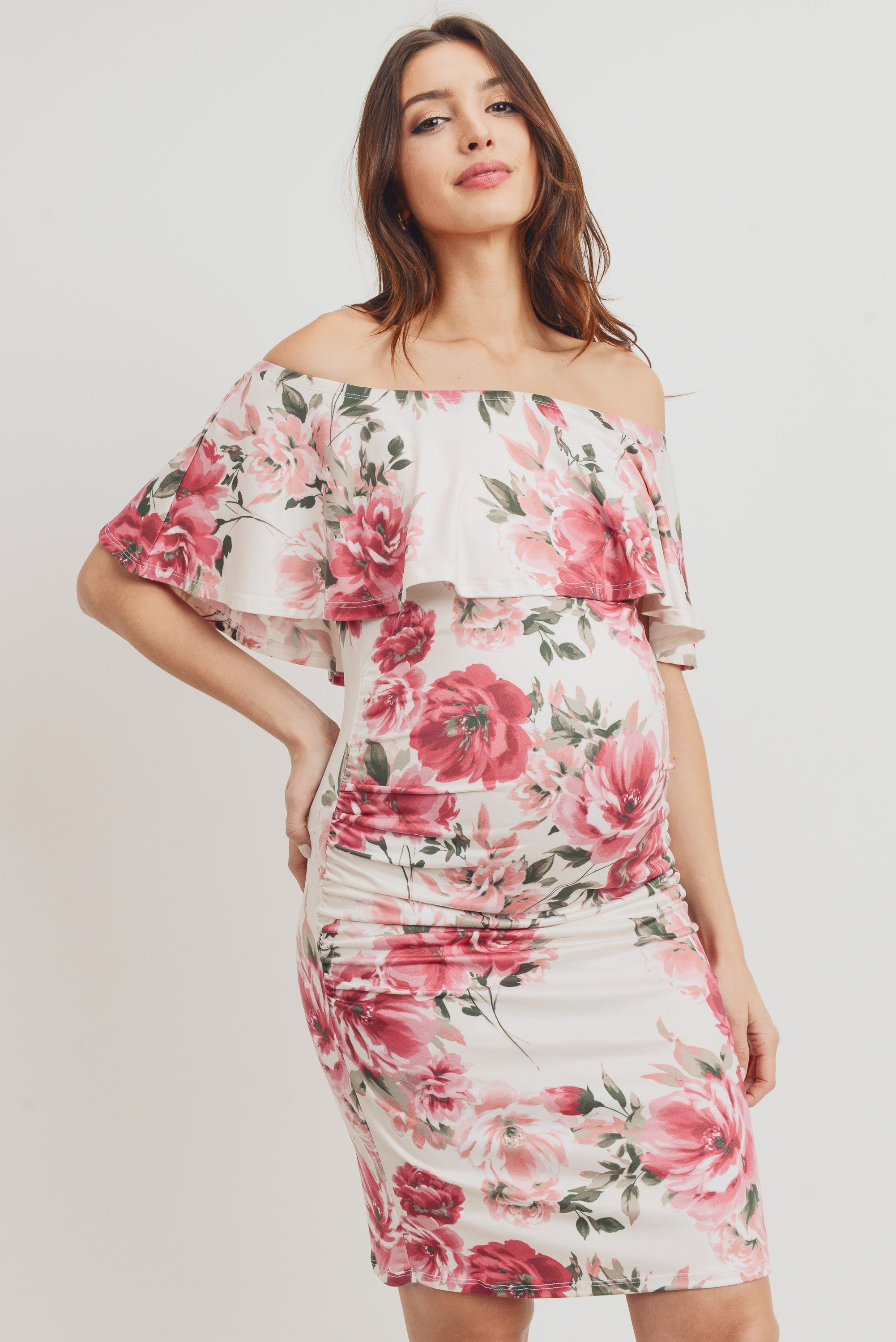 Cream Floral Off Shoulder Maternity Dress