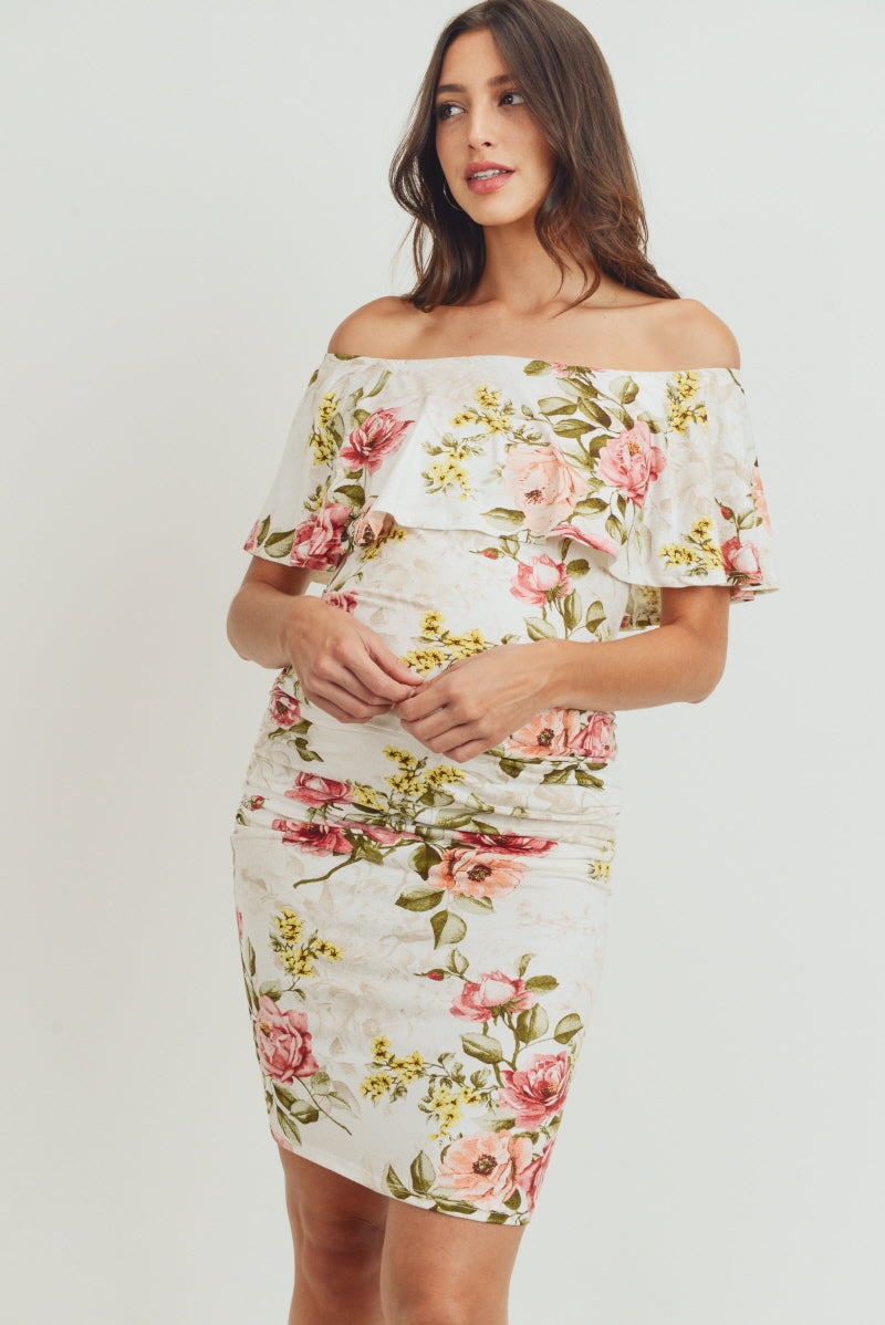 Floral Off The Shoulder Maternity Dress