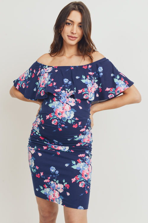 Floral Ruffled Off Shoulder Maternity Dress