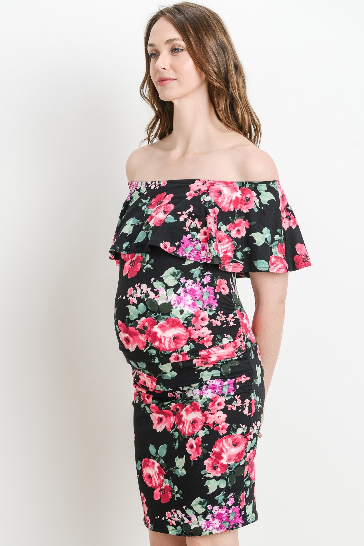 Riley Off Shoulder Ruffle Maternity Dress
