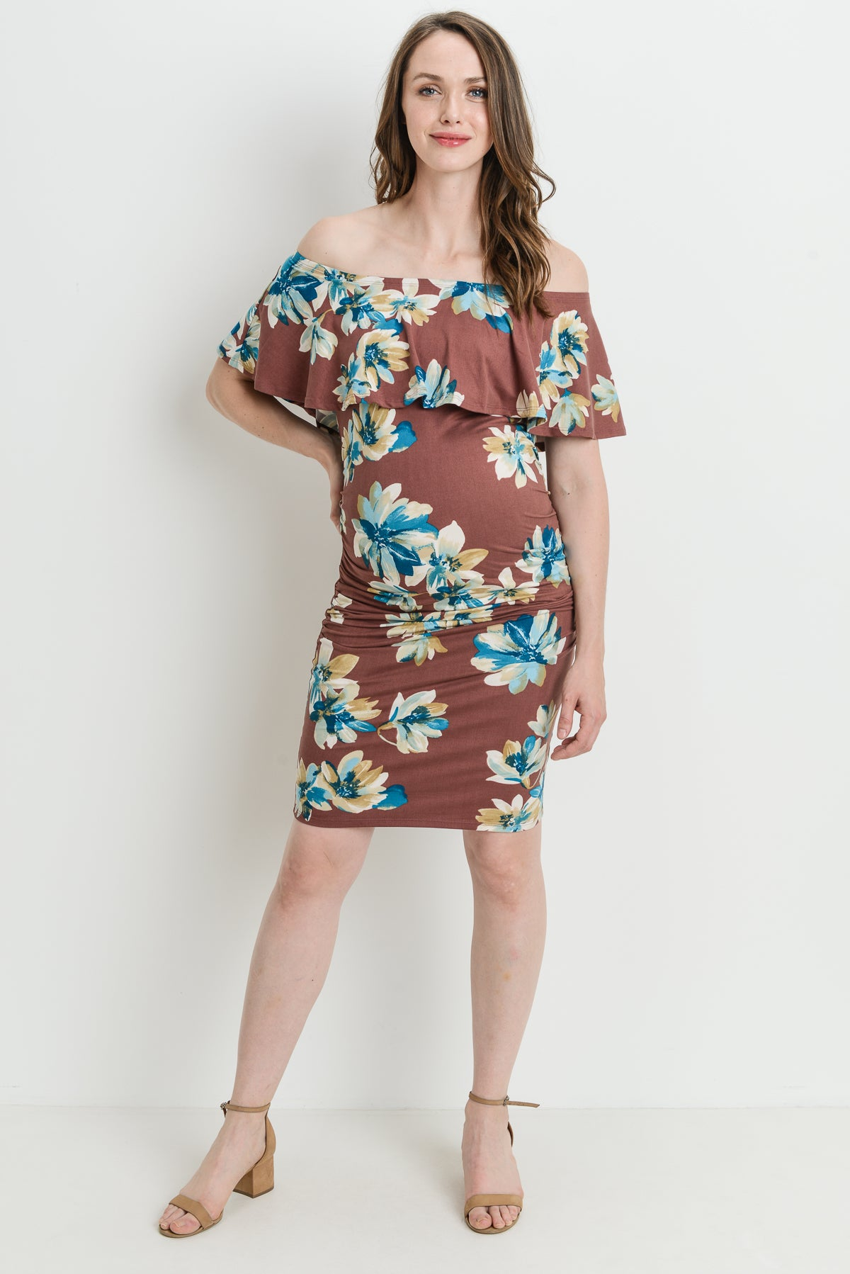 Floral Ruffle Off Shoulder Maternity Dress