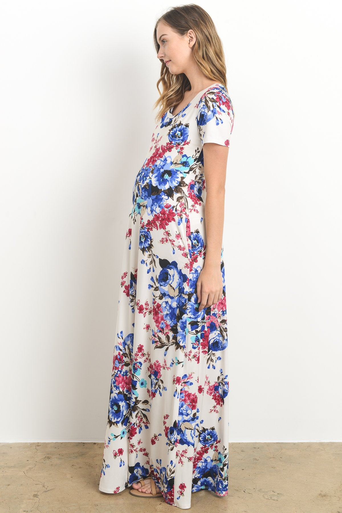 Casual Side Pocket Maternity Maxi Dress, Exotic