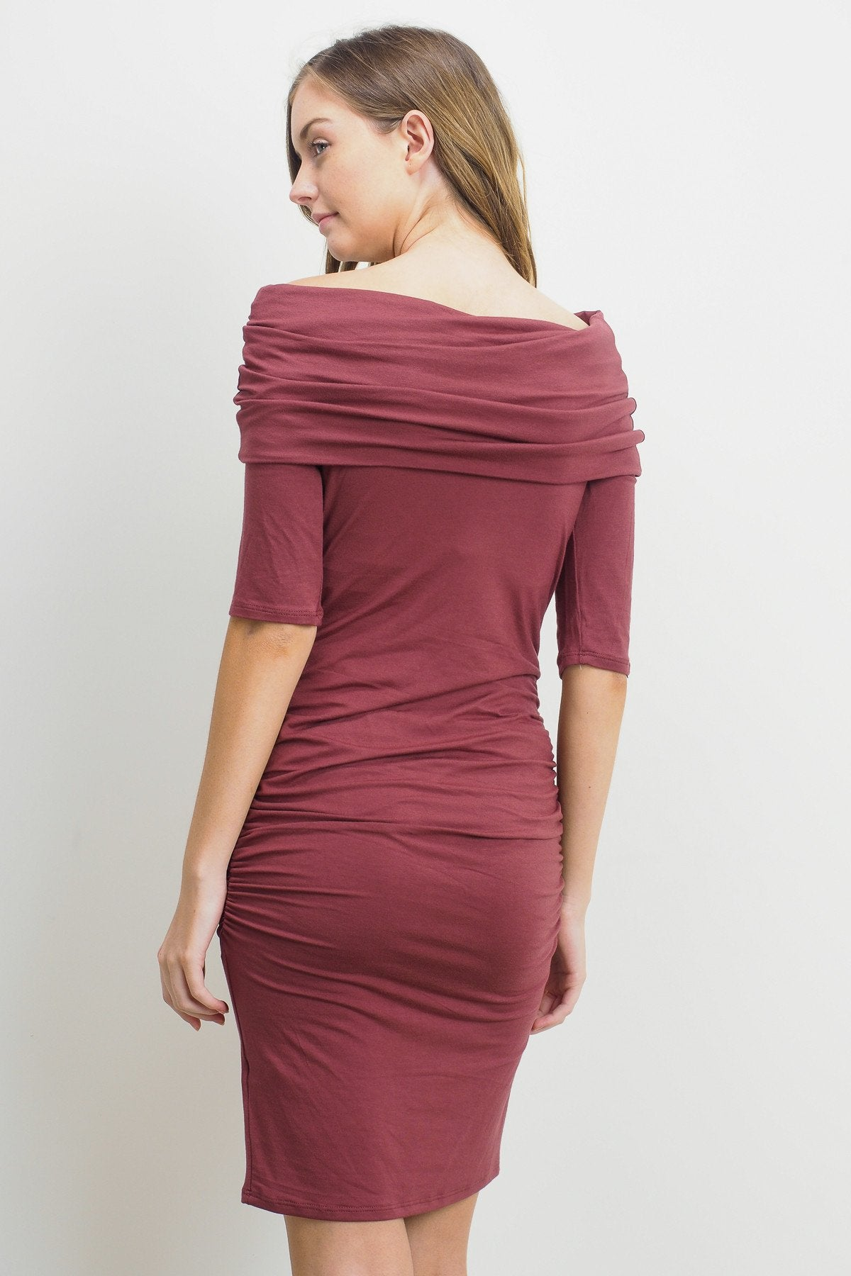 Folded Off Shoulder Solid Maternity Dress