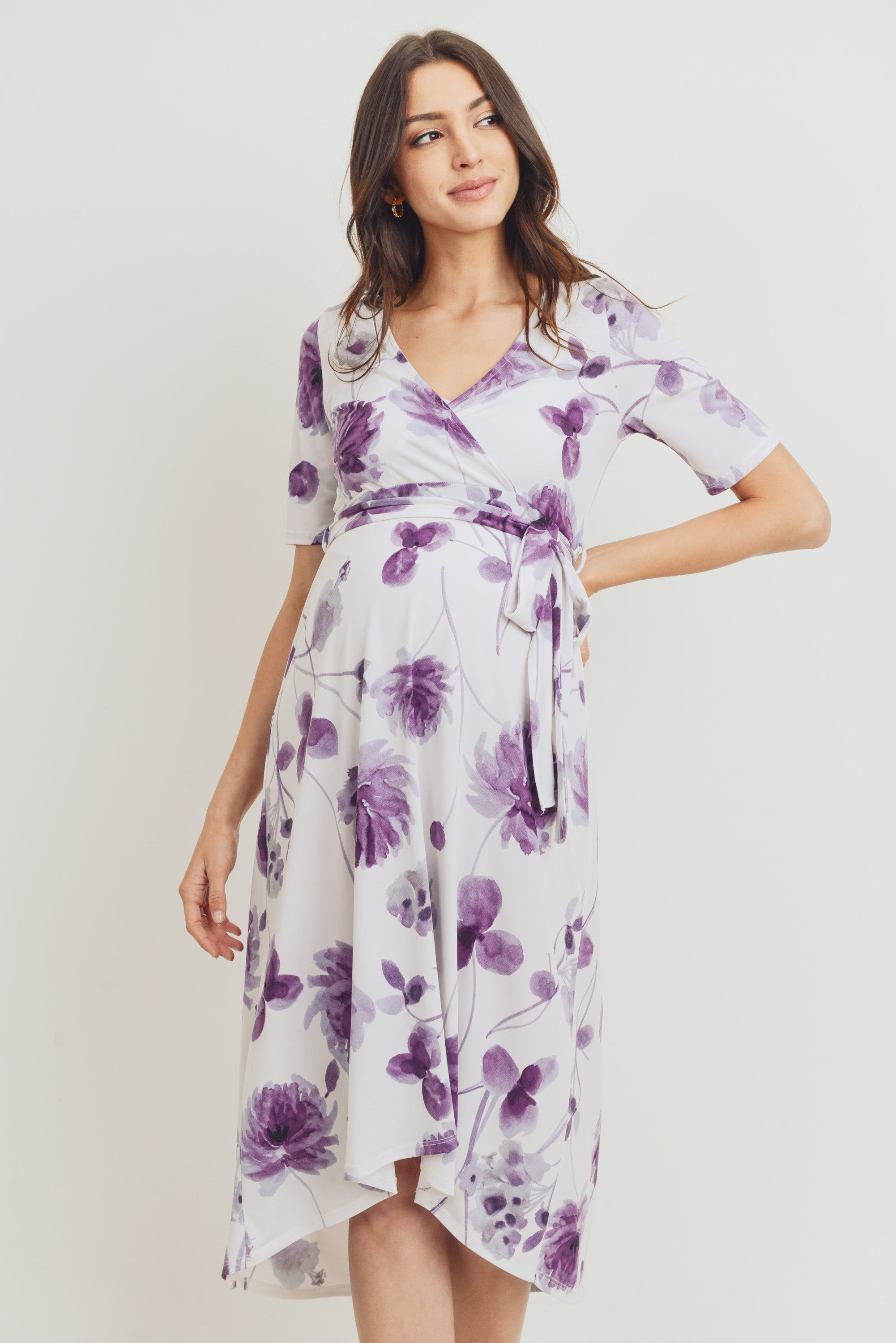 Floral High-Low Maternity/Nursing Dress