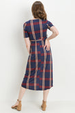 Plaid Side Tie V-Neck Maternity & Nursing Dress
