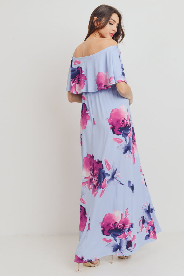 Off Shoulder Ruffle Maternity Maxi Dress