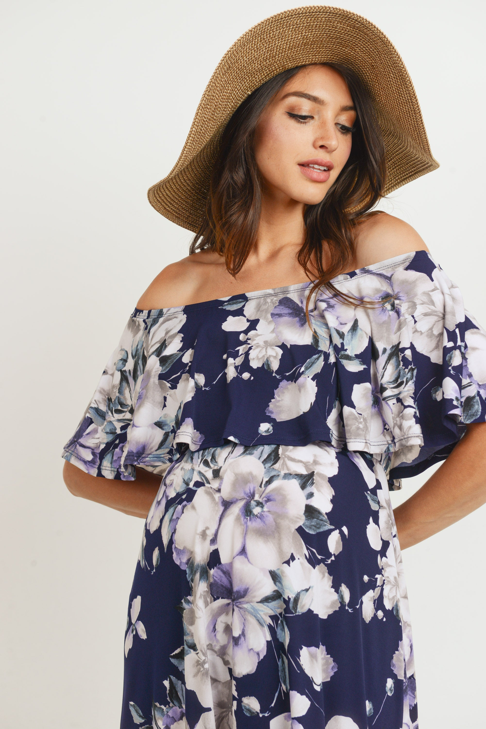 Floral Off Shoulder Maternity Maxi Dress