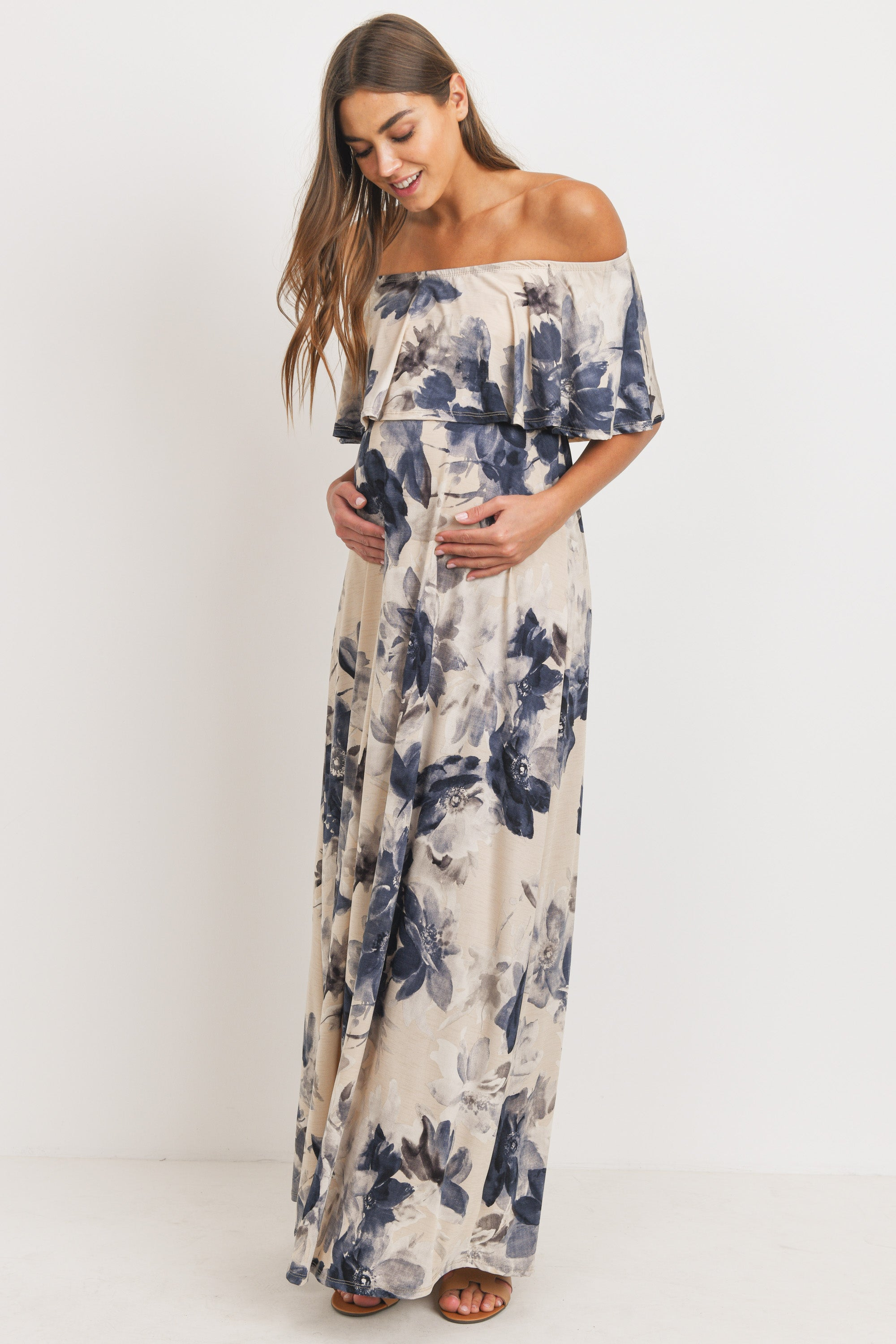 Ruffle Off The Shoulder Maxi Maternity Dress