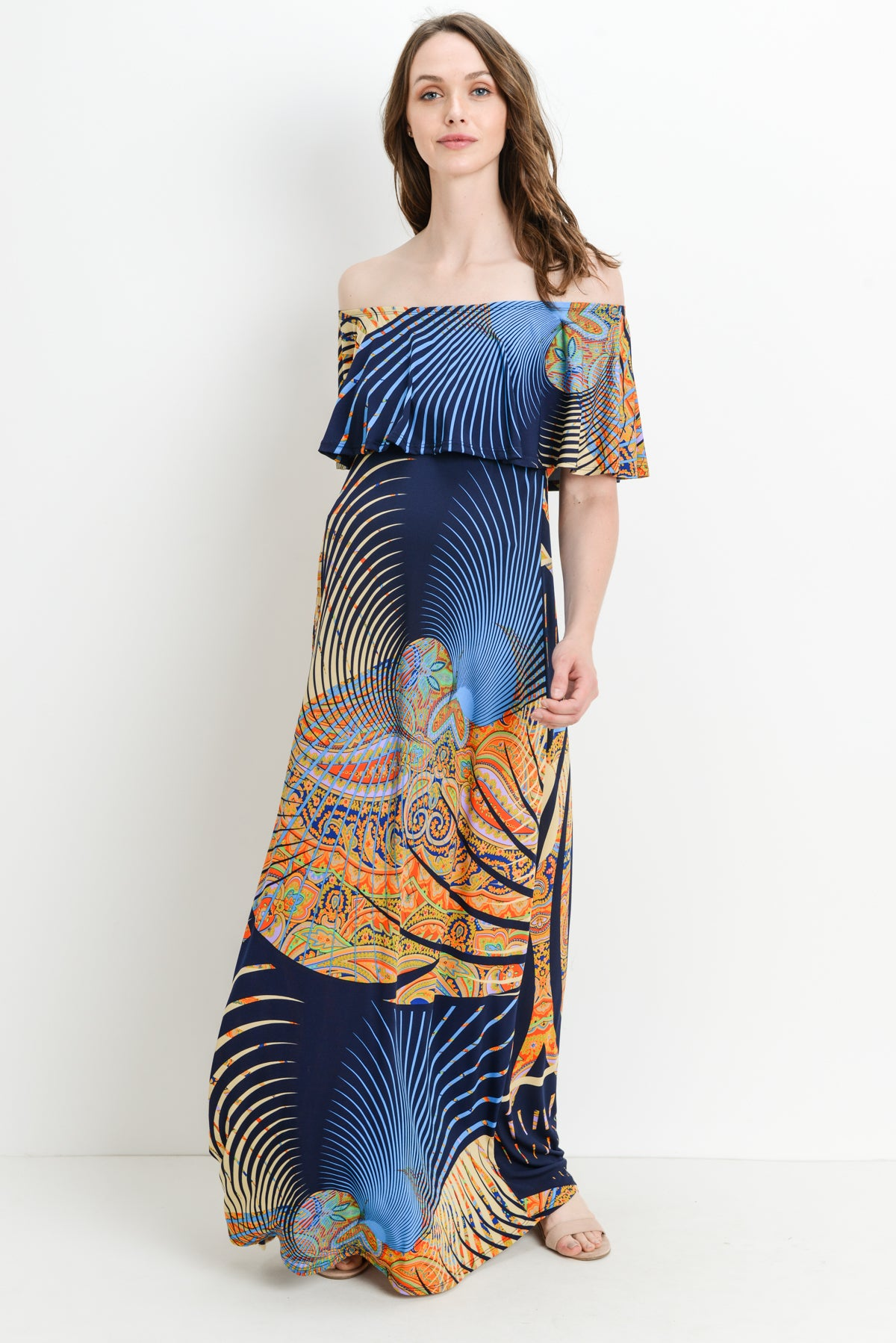 Safari Ruffle Off Shoulder Maternity Maxi Dress