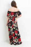 Floral Ruffle Off Shoulder Maternity Maxi Dress