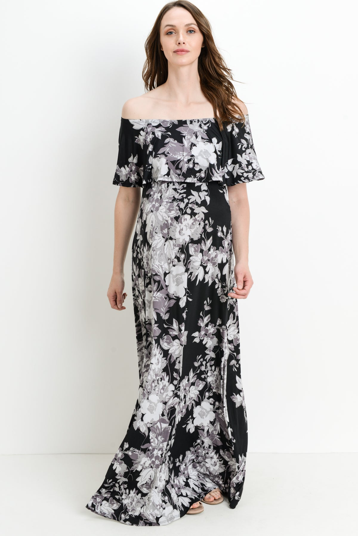 Ruffle Off Shoulder Maxi Maternity Dress