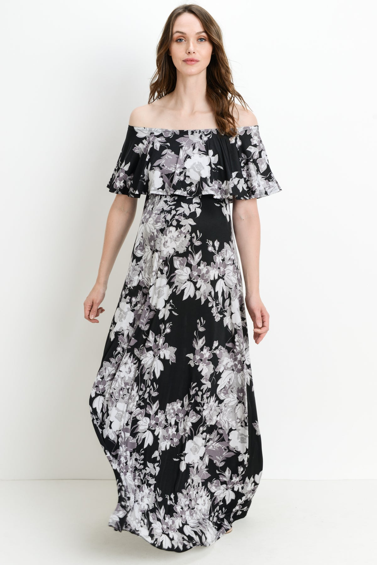 Black Floral Ruffle Off Shoulder Maternity Maxi Dress