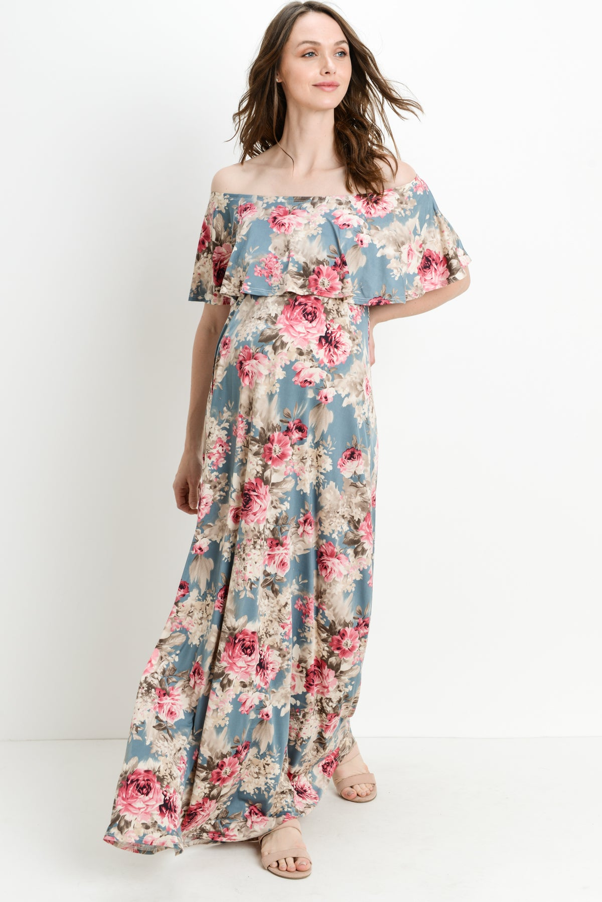 4be1e4cfaebe Floral Ruffle Off Shoulder Maternity Maxi Dress ...